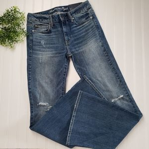 American Eagle 77 High Rise Flare Distressed Jeans